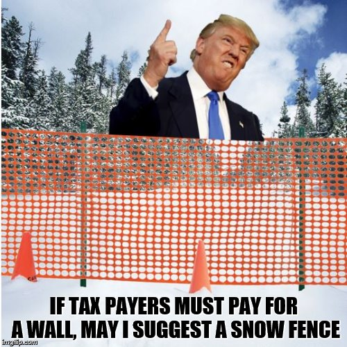 Trump's Wall | IF TAX PAYERS MUST PAY FOR A WALL, MAY I SUGGEST A SNOW FENCE | image tagged in trump | made w/ Imgflip meme maker