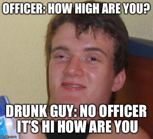 10 Guy Meme | OFFICER: HOW HIGH ARE YOU? DRUNK GUY: NO OFFICER IT'S HI HOW ARE YOU | image tagged in memes,10 guy | made w/ Imgflip meme maker