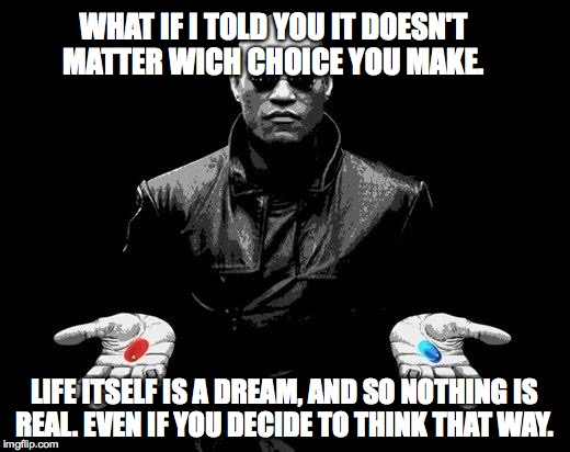 Matrix Morpheus Offer | WHAT IF I TOLD YOU IT DOESN'T MATTER WICH CHOICE YOU MAKE. LIFE ITSELF IS A DREAM, AND SO NOTHING IS REAL. EVEN IF YOU DECIDE TO THINK THAT  | image tagged in matrix morpheus offer | made w/ Imgflip meme maker