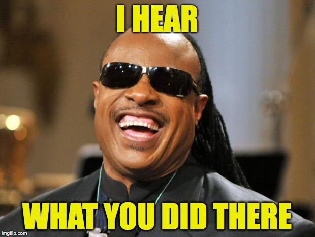 I HEAR WHAT YOU DID THERE | image tagged in stevie wonder | made w/ Imgflip meme maker