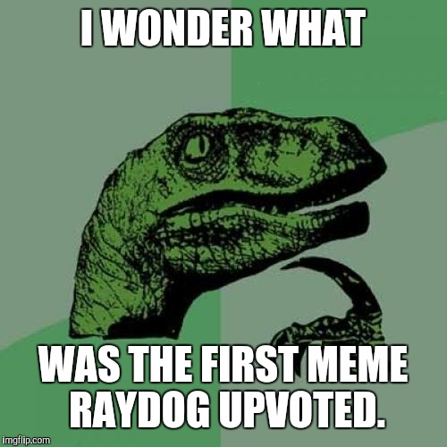 Any inside info Ray? | I WONDER WHAT WAS THE FIRST MEME RAYDOG UPVOTED. | image tagged in memes,philosoraptor,raydog,upvote | made w/ Imgflip meme maker