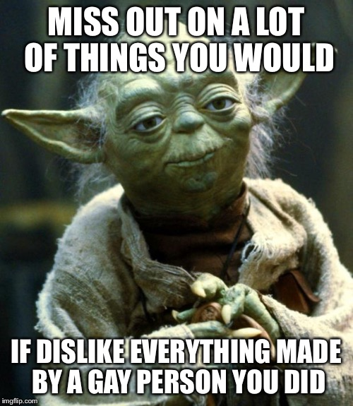 Star Wars Yoda Meme | MISS OUT ON A LOT OF THINGS YOU WOULD IF DISLIKE EVERYTHING MADE BY A GAY PERSON YOU DID | image tagged in memes,star wars yoda | made w/ Imgflip meme maker