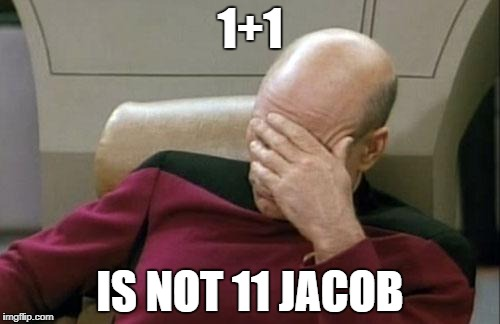 Captain Picard Facepalm Meme | 1+1 IS NOT 11 JACOB | image tagged in memes,captain picard facepalm | made w/ Imgflip meme maker