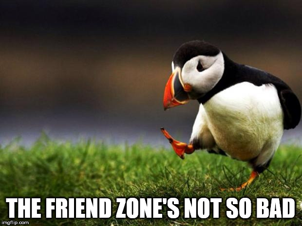 It is a good way to get to know someone | THE FRIEND ZONE'S NOT SO BAD | image tagged in memes,unpopular opinion puffin,friendzone,friendzoned,friend zone | made w/ Imgflip meme maker