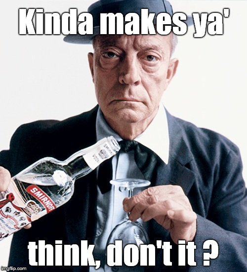Buster vodka ad | Kinda makes ya' think, don't it ? | image tagged in buster vodka ad | made w/ Imgflip meme maker