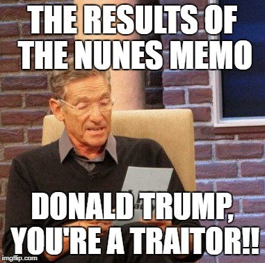 Maury Lie Detector Meme | THE RESULTS OF THE NUNES MEMO DONALD TRUMP, YOU'RE A TRAITOR!! | image tagged in memes,maury lie detector | made w/ Imgflip meme maker