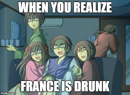 Hetalia  | WHEN YOU REALIZE FRANCE IS DRUNK | image tagged in hetalia | made w/ Imgflip meme maker