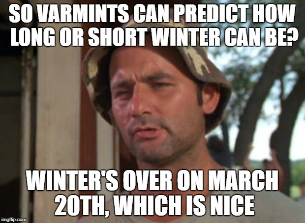 So I Got That Goin For Me Which Is Nice Meme | SO VARMINTS CAN PREDICT HOW LONG OR SHORT WINTER CAN BE? WINTER'S OVER ON MARCH 20TH, WHICH IS NICE | image tagged in memes,so i got that goin for me which is nice | made w/ Imgflip meme maker