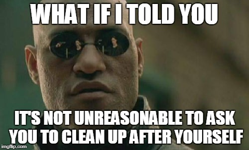 Matrix Morpheus Meme | WHAT IF I TOLD YOU IT'S NOT UNREASONABLE TO ASK YOU TO CLEAN UP AFTER YOURSELF | image tagged in memes,matrix morpheus | made w/ Imgflip meme maker