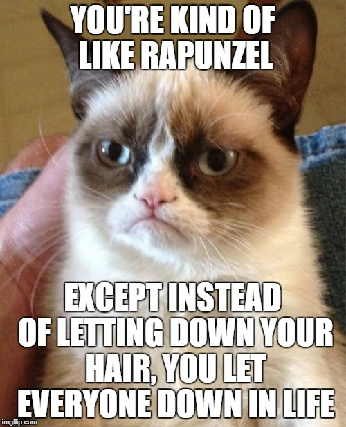 Grumpy Cat Meme | YOU'RE KIND OF LIKE RAPUNZEL EXCEPT INSTEAD OF LETTING DOWN YOUR HAIR, YOU LET EVERYONE DOWN IN LIFE | image tagged in memes,grumpy cat | made w/ Imgflip meme maker