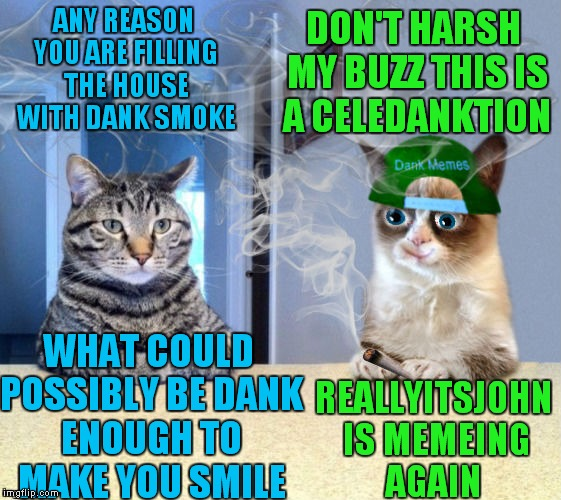 Yup even Grumpy is happy... | ANY REASON YOU ARE FILLING THE HOUSE WITH DANK SMOKE REALLYITSJOHN IS MEMEING AGAIN DON'T HARSH MY BUZZ THIS IS A CELEDANKTION WHAT COULD PO | image tagged in grumpy cat,take a seat cat,so so dank,reallyitsjohn | made w/ Imgflip meme maker