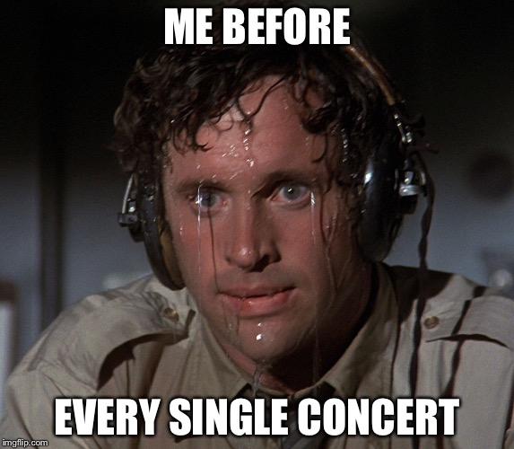 Uh oh! | ME BEFORE EVERY SINGLE CONCERT | image tagged in nervous face,violin,orchestra,concert | made w/ Imgflip meme maker