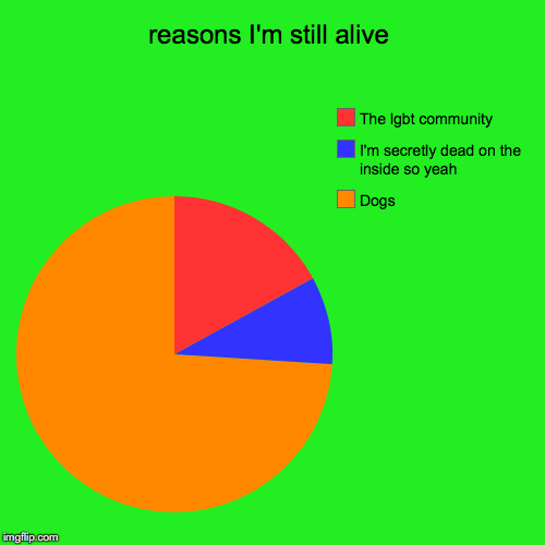 reasons I'm still alive | Dogs, I'm secretly dead on the inside so yeah, The lgbt community | image tagged in funny,pie charts | made w/ Imgflip pie chart maker