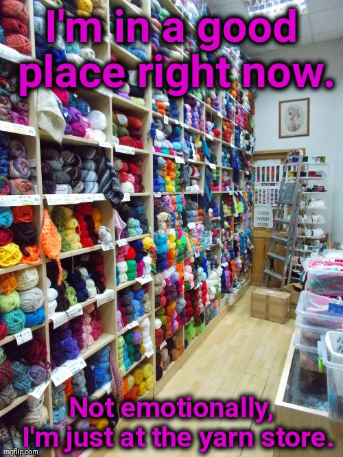 Yarny Emotions | I'm in a good place right now. Not emotionally,     I'm just at the yarn store. | image tagged in yarn,emotions,knitting | made w/ Imgflip meme maker