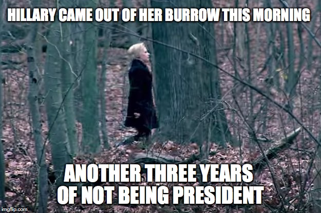 HILLARY CAME OUT OF HER BURROW THIS MORNING ANOTHER THREE YEARS OF NOT BEING PRESIDENT | image tagged in hillary clinton,groundhog day | made w/ Imgflip meme maker