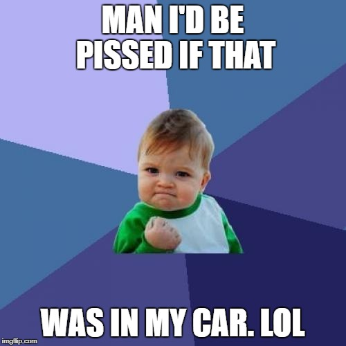Success Kid Meme | MAN I'D BE PISSED IF THAT WAS IN MY CAR. LOL | image tagged in memes,success kid | made w/ Imgflip meme maker