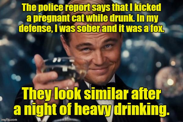 Leonardo Dicaprio Cheers Meme | The police report says that I kicked a pregnant cat while drunk. In my defense, I was sober and it was a fox. They look similar after a nigh | image tagged in memes,leonardo dicaprio cheers | made w/ Imgflip meme maker