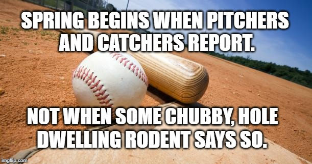 Spring Only Begins | SPRING BEGINS WHEN PITCHERS AND CATCHERS REPORT. DWELLING RODENT SAYS SO. NOT WHEN SOME CHUBBY, HOLE | image tagged in major league baseball | made w/ Imgflip meme maker