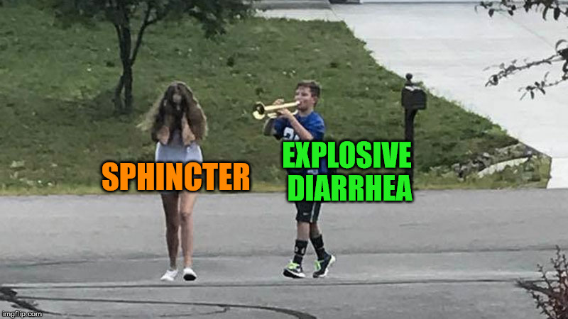 Marching to the Outhouse With Willie Maykit and Betty Wont | EXPLOSIVE DIARRHEA SPHINCTER | image tagged in trumpet boy object labeling,explosive,diarrhea,sphincter | made w/ Imgflip meme maker