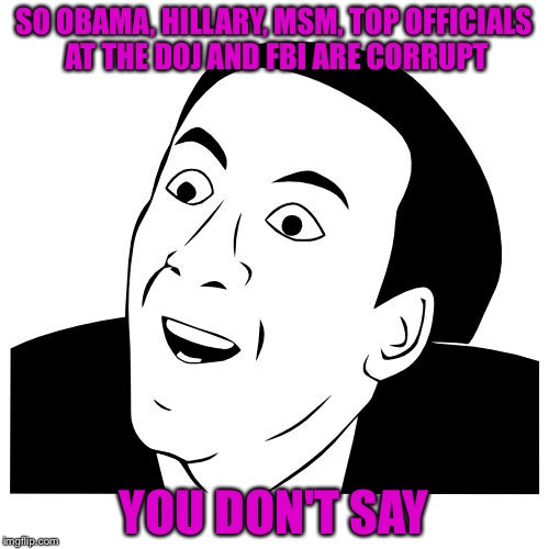 you don't say | SO OBAMA, HILLARY, MSM, TOP OFFICIALS AT THE DOJ AND FBI ARE CORRUPT YOU DON'T SAY | image tagged in you don't say | made w/ Imgflip meme maker