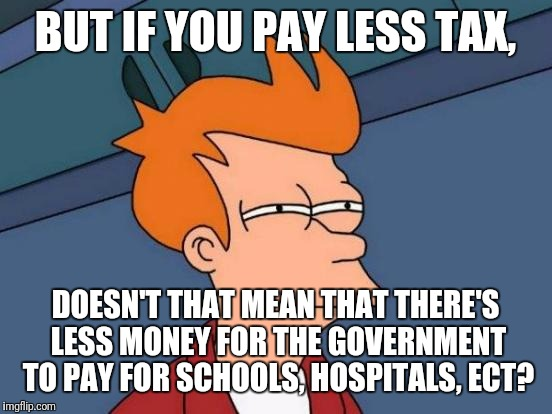 Futurama Fry Meme | BUT IF YOU PAY LESS TAX, DOESN'T THAT MEAN THAT THERE'S LESS MONEY FOR THE GOVERNMENT TO PAY FOR SCHOOLS, HOSPITALS, ECT? | image tagged in memes,futurama fry | made w/ Imgflip meme maker