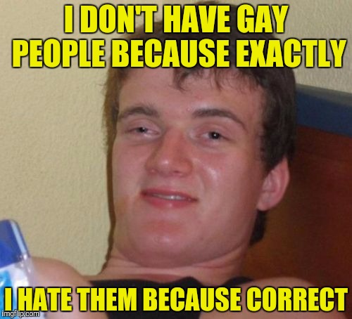 10 Guy Meme | I DON'T HAVE GAY PEOPLE BECAUSE EXACTLY I HATE THEM BECAUSE CORRECT | image tagged in memes,10 guy | made w/ Imgflip meme maker