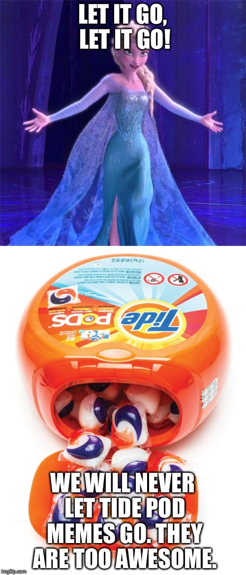 Let the tide pod memes go! | LET IT GO, LET IT GO! WE WILL NEVER LET TIDE POD MEMES GO. THEY ARE TOO AWESOME. | image tagged in tide pods,tide pod,elsa,let it go | made w/ Imgflip meme maker