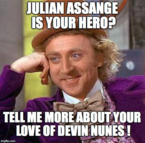 Liberals are nothing if not complete, utter and total hypocrites. | JULIAN ASSANGE IS YOUR HERO? TELL ME MORE ABOUT YOUR LOVE OF DEVIN NUNES ! | image tagged in devin nunes,2018,fisa,memo,treason,democrats | made w/ Imgflip meme maker