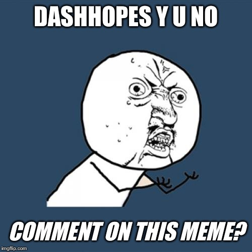 Y U No Meme | DASHHOPES Y U NO COMMENT ON THIS MEME? | image tagged in memes,y u no | made w/ Imgflip meme maker