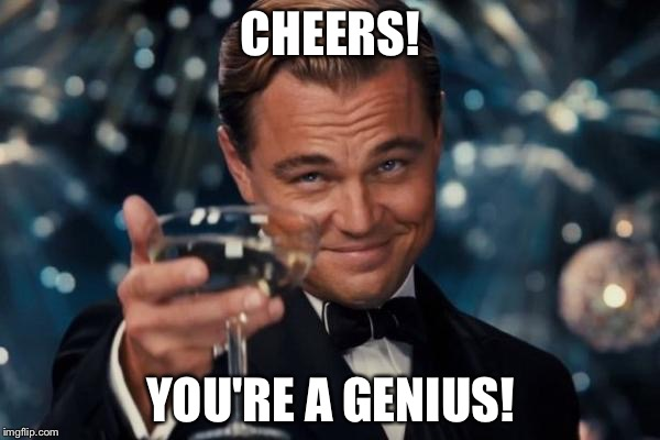Leonardo Dicaprio Cheers Meme | CHEERS! YOU'RE A GENIUS! | image tagged in memes,leonardo dicaprio cheers | made w/ Imgflip meme maker