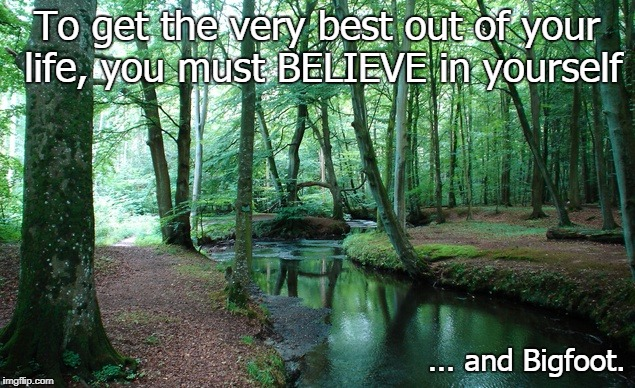 Believe in Bigfoot | To get the very best out of your life, you must BELIEVE in yourself ... and Bigfoot. | image tagged in inspirational memes,funny,sasquatch | made w/ Imgflip meme maker