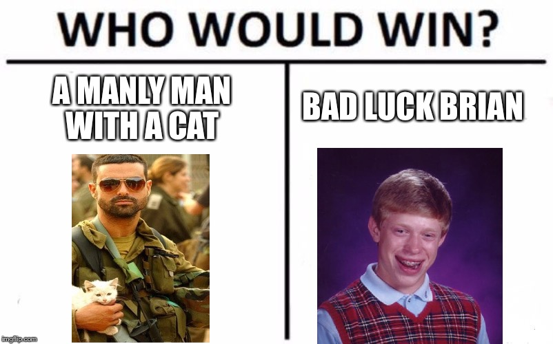 Who Would Win? Meme | A MANLY MAN WITH A CAT BAD LUCK BRIAN | image tagged in memes,who would win | made w/ Imgflip meme maker