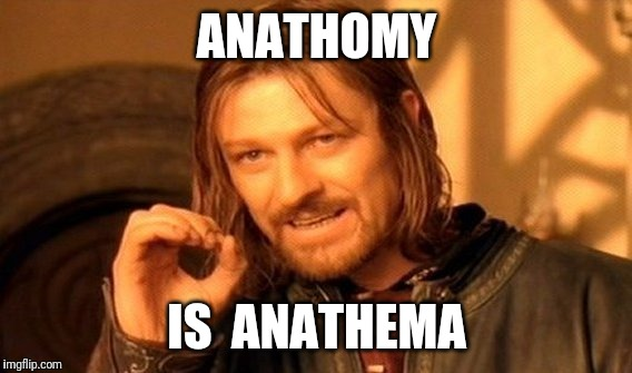 One Does Not Simply Meme | ANATHOMY IS  ANATHEMA | image tagged in memes,one does not simply | made w/ Imgflip meme maker