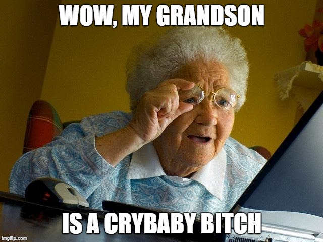 Grandma is at it again | WOW, MY GRANDSON IS A CRYBABY B**CH | image tagged in memes,grandma finds the internet,roast,lol | made w/ Imgflip meme maker