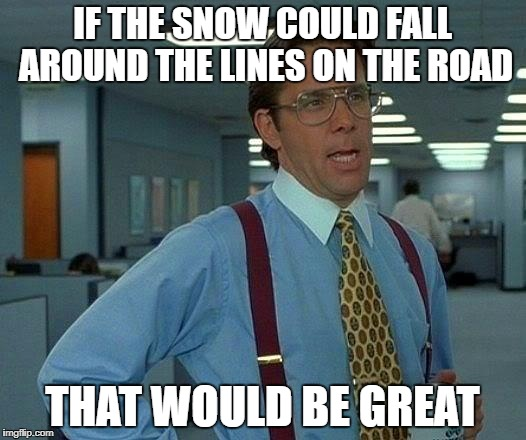 That Would Be Great Meme | IF THE SNOW COULD FALL AROUND THE LINES ON THE ROAD THAT WOULD BE GREAT | image tagged in memes,that would be great | made w/ Imgflip meme maker