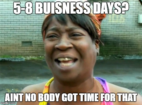 Aint no body got time for that | 5-8 BUISNESS DAYS? AINT NO BODY GOT TIME FOR THAT | image tagged in aint no body got time for that | made w/ Imgflip meme maker