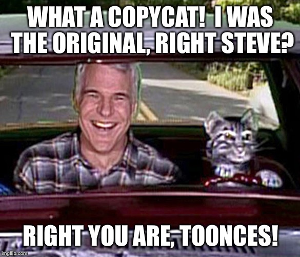 WHAT A COPYCAT!  I WAS THE ORIGINAL, RIGHT STEVE? RIGHT YOU ARE, TOONCES! | made w/ Imgflip meme maker