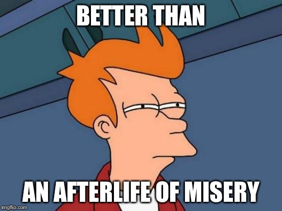 Futurama Fry Meme | BETTER THAN AN AFTERLIFE OF MISERY | image tagged in memes,futurama fry | made w/ Imgflip meme maker