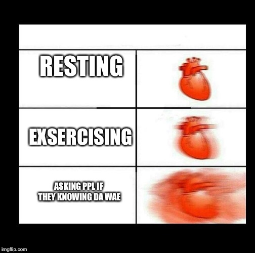 heart beating faster | RESTING EXSERCISING ASKING PPL IF THEY KNOWING DA WAE | image tagged in heart beating faster | made w/ Imgflip meme maker