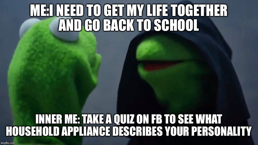 Kermit Inner Me | ME:I NEED TO GET MY LIFE TOGETHER AND GO BACK TO SCHOOL INNER ME: TAKE A QUIZ ON FB TO SEE WHAT HOUSEHOLD APPLIANCE DESCRIBES YOUR PERSONALI | image tagged in kermit inner me | made w/ Imgflip meme maker