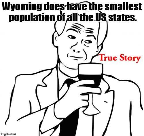 true story | Wyoming does have the smallest population of all the US states. | image tagged in true story | made w/ Imgflip meme maker