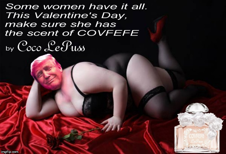 Covfefe LePuss | image tagged in trump,covfefe,valentine's day,perfume,dumptrump,trump brand covfefe | made w/ Imgflip meme maker