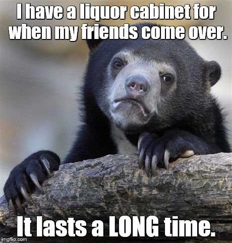Confession Bear Meme | I have a liquor cabinet for when my friends come over. It lasts a LONG time. | image tagged in memes,confession bear | made w/ Imgflip meme maker