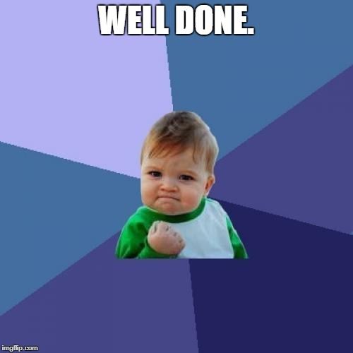 Success Kid Meme | WELL DONE. | image tagged in memes,success kid | made w/ Imgflip meme maker