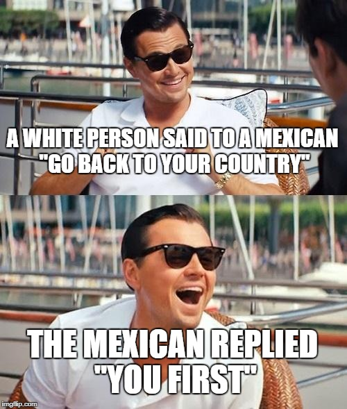 "Leonardo Dicaprio Wolf Of Wall Street Meme | A WHITE PERSON SAID TO A MEXICAN ""GO BACK TO YOUR COUNTRY"" THE MEXICAN REPLIED ""YOU FIRST"" 