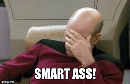 Captain Picard Facepalm Meme | SMART ASS! | image tagged in memes,captain picard facepalm | made w/ Imgflip meme maker