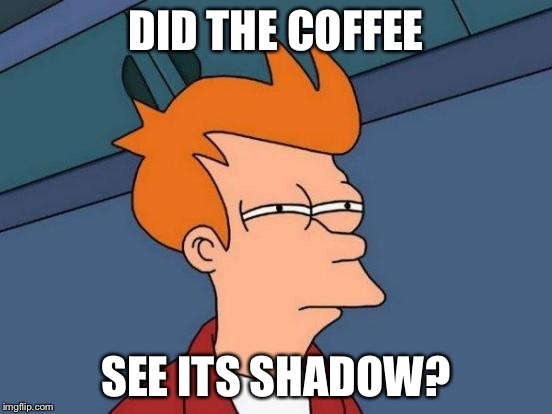 Futurama Fry Meme | DID THE COFFEE SEE ITS SHADOW? | image tagged in memes,futurama fry | made w/ Imgflip meme maker