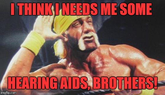 Hulk Hogan Ear | I THINK I NEEDS ME SOME HEARING AIDS, BROTHERS! | image tagged in hulk hogan ear | made w/ Imgflip meme maker