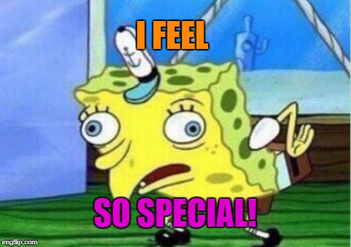 Mocking Spongebob Meme | I FEEL SO SPECIAL! | image tagged in memes,mocking spongebob | made w/ Imgflip meme maker