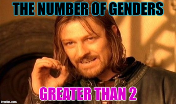 One Does Not Simply Meme | THE NUMBER OF GENDERS GREATER THAN 2 | image tagged in memes,one does not simply | made w/ Imgflip meme maker